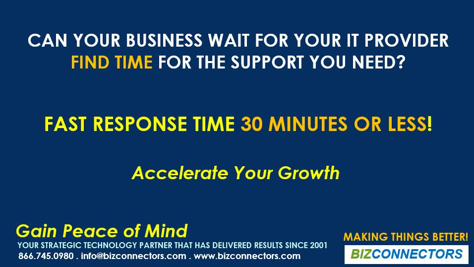 FAST RESPONSE TIME 30 MINUTES OR LESS